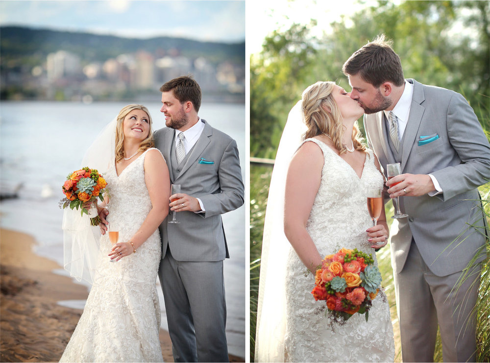 16-Duluth-Minnesota-Wedding-Photographer-by-Andrew-Vick-Photography-Summer-Bride-Groom-Kiss-Flowers-Beach-Champagne-Katie-and-Andrew.jpg