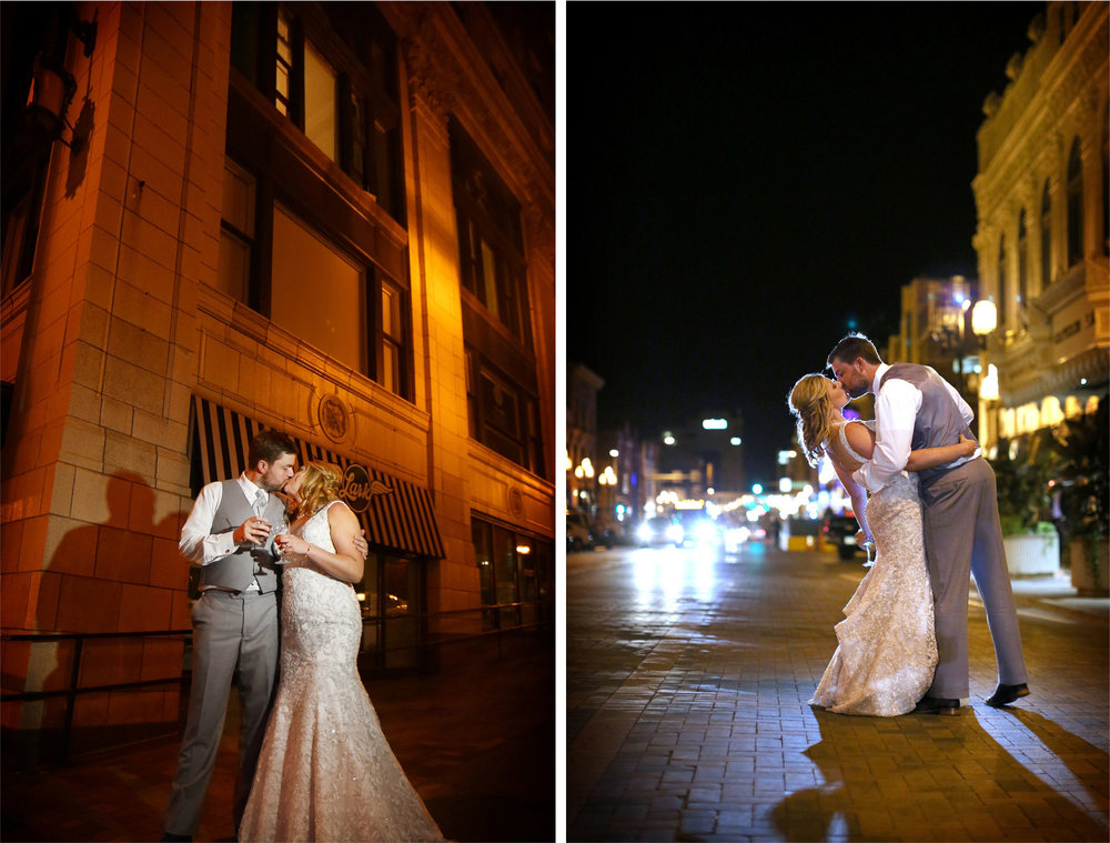 24-Duluth-Minnesota-Wedding-Photographer-by-Andrew-Vick-Photography-Summer-Greysolon-Ballroom-Reception-Bride-Groom-Kiss-Dip-Night-Outside-Drinks-Katie-and-Andrew.jpg