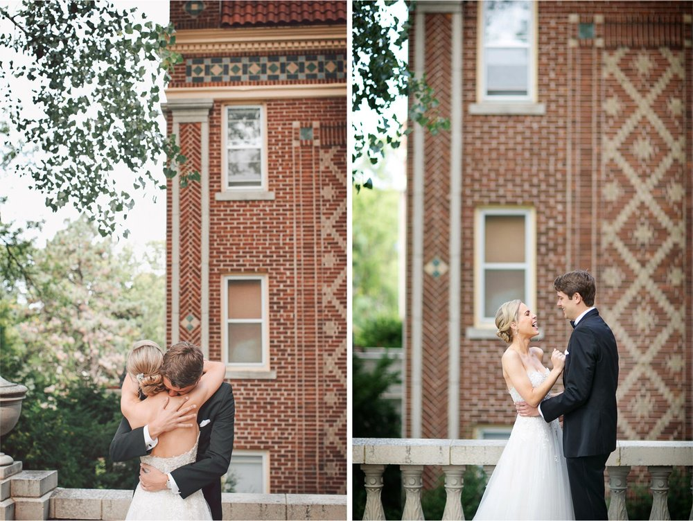 04-Minneapolis-Minnesota-Wedding-Photographer-by-Andrew-Vick-Photography-Summer-Calhoun-Beach-Club-First-Meeting-Look-Bride-Groom-Terrace-Embrace-Vintage-Michelle-and-Kevin.jpg