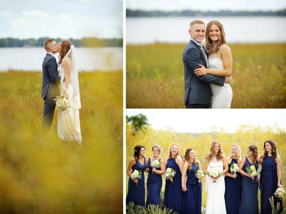 12-Dellwood-Minnesota-Wedding-Photographer-by-Andrew-Vick-Photography-Summer-Country-Club-First-Meeting-Look-Bride-Groom-Embrace-Kiss-Bridesmaids-Sarah-and-Landon.jpg