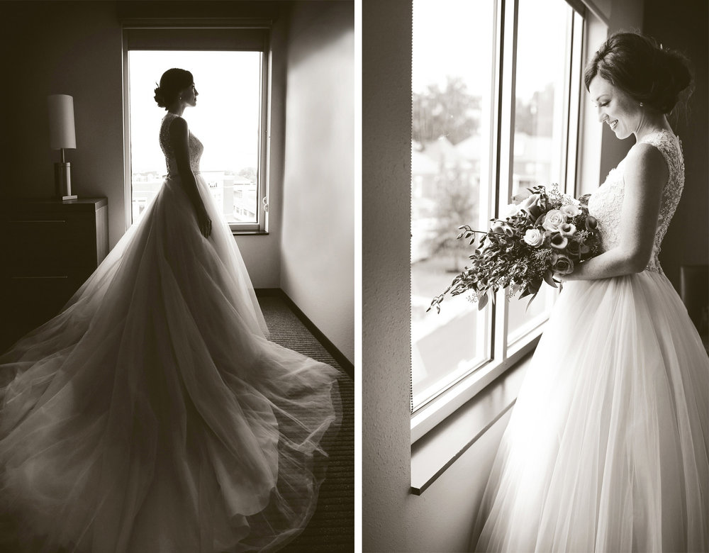 02-Bowling-Green-Kentucky-Wedding-Photographer-by-Andrew-Vick-Photography-Destination-Summer-Hyatt-Place-Hotel-Getting-Ready-Bride-Dress-Flowers-Sepia-Katie-and-Jon.jpg