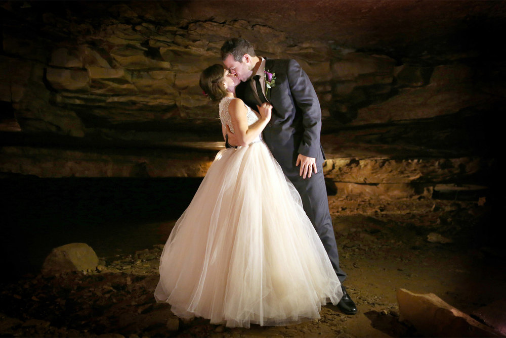 21-Bowling-Green-Kentucky-Wedding-Photographer-by-Andrew-Vick-Photography-Destination-Summer-Lost-River-Cave-Reception-Bride-Groom-Kiss-Katie-and-Jon.jpg