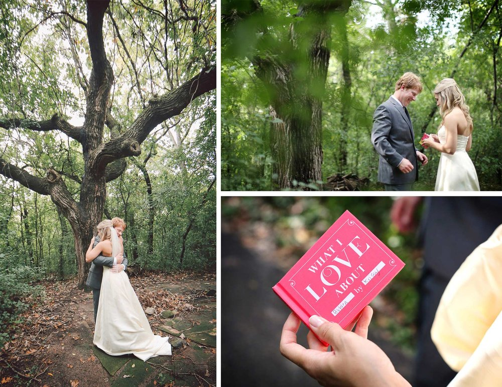 05-Minneapolis-Minnesota-Wedding-Photographer-by-Andrew-Vick-Photography-Fall-Autumn-Parents-House-First-Meeting-Look-Backyard-Bride-Groom-Hug-Embrace-Gift-Book-Vintage-Krissy-and-James.jpg