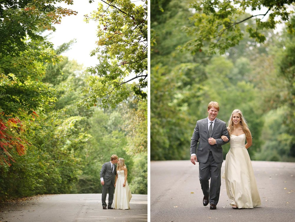 08-Minneapolis-Minnesota-Wedding-Photographer-by-Andrew-Vick-Photography-Fall-Autumn-Parents-House-First-Meeting-Look-Bride-Groom-Kiss-Street-Krissy-and-James.jpg