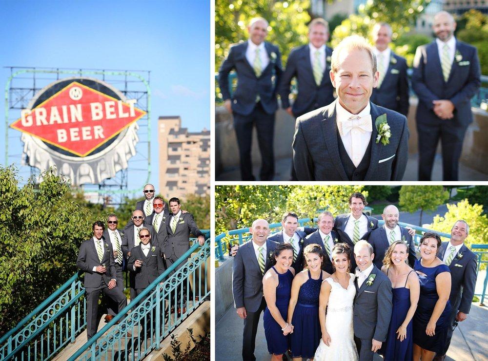 14-Minneapolis-Minnesota-Wedding-Photographer-by-Andrew-Vick-Photography-Fall-Autumn-Bride-Groom-Bridal-Party-Groomsmen-Bridesmaids-Grain-Belt-Beer-Sign-Drinks-Paula-and-Jason.jpg
