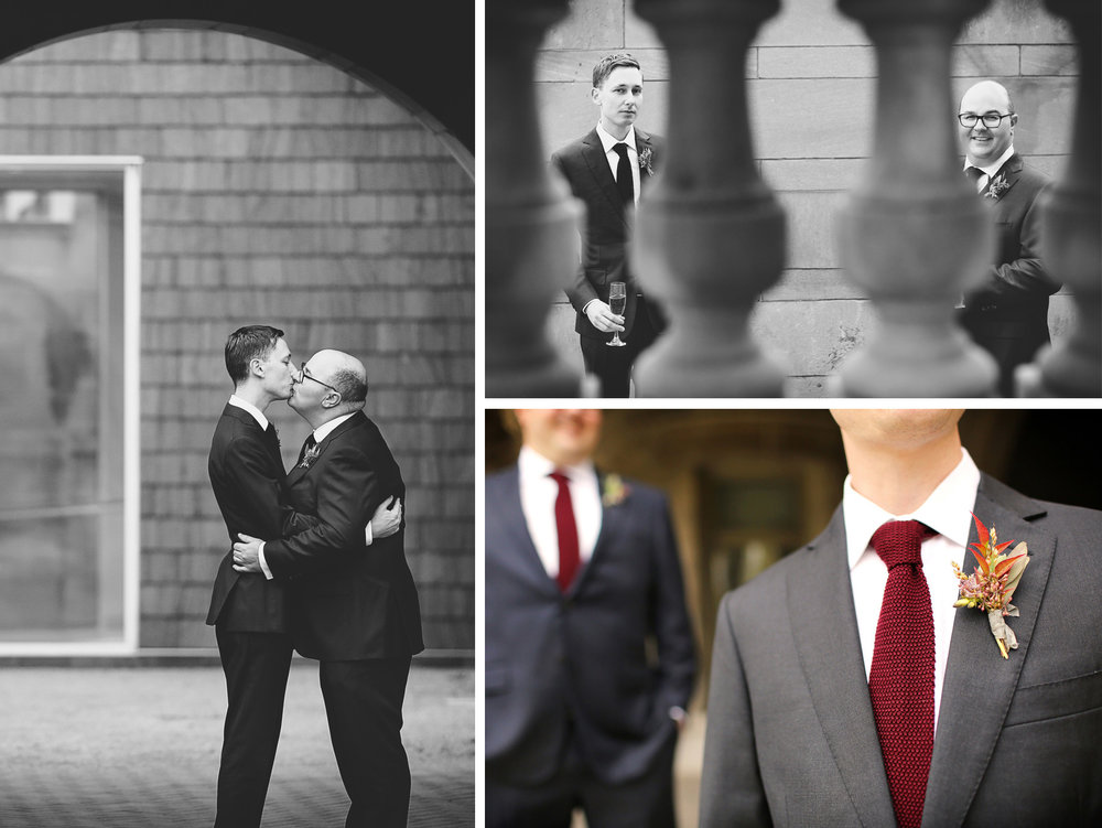 07-Minneapolis-Minnesota-Wedding-Photographer-by-Andrew-Vick-Photography-Fall-Autumn-American-Swedish-Institute-First-Meeting-Look-Groom-Kiss-Pink-Champagne-Boutonniere-Black-and-White-Ben-and-Adam.jpg