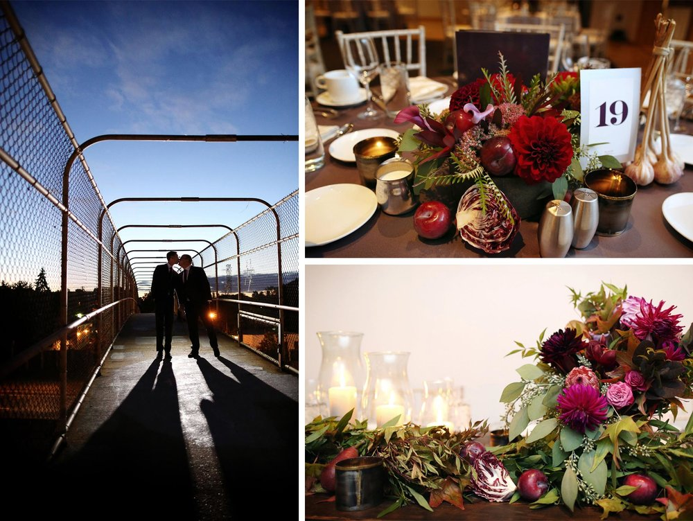 19-Minneapolis-Minnesota-Wedding-Photographer-by-Andrew-Vick-Photography-Fall-Autumn-Pedestrian-Bridge-Groom-Silhouette-Night-Sky-American-Swedish-Institute-Reception-Details-Decorations-Decor-Flowers-Table-Setting-Ben-and-Adam.jpg