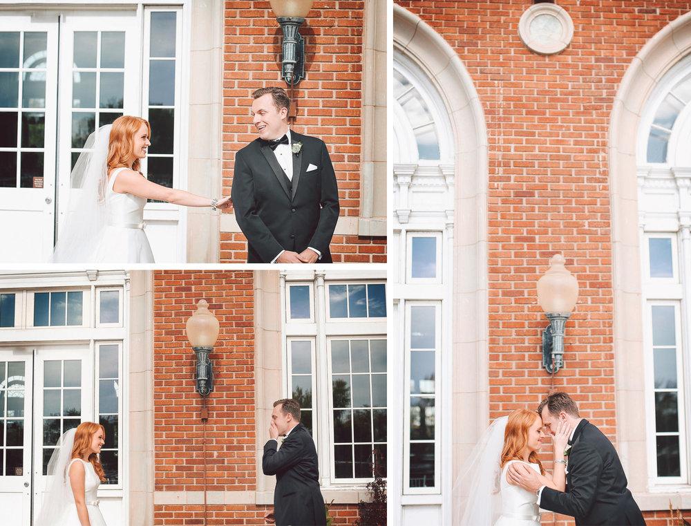 07-Minneapolis-Minnesota-Wedding-Photographer-by-Andrew-Vick-Photography-Fall-Autumn-Calhoun-Beach-Club-First-Look-Meeting-Bride-Groom-Terrace-Surprise-Embrace-Vintage-Kristy-and-Jack.jpg