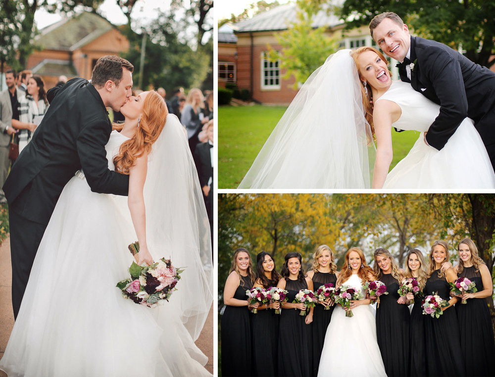 18-Minneapolis-Minnesota-Wedding-Photographer-by-Andrew-Vick-Photography-Fall-Autumn-Our-Lady-of-Grace-Catholic-Church-Bride-Groom-Kiss-Bridesmaids-Excitement-Vintage-Kristy-and-Jack.jpg