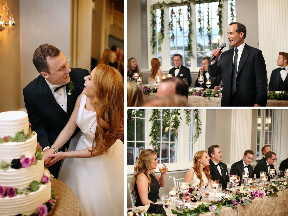 27-Minneapolis-Minnesota-Wedding-Photographer-by-Andrew-Vick-Photography-Fall-Autumn-Calhoun-Beach-Club-Reception-Bride-Groom-Cake-Cutting-Laughter-Speeches-Father-Patents-Kristy-and-Jack.jpg