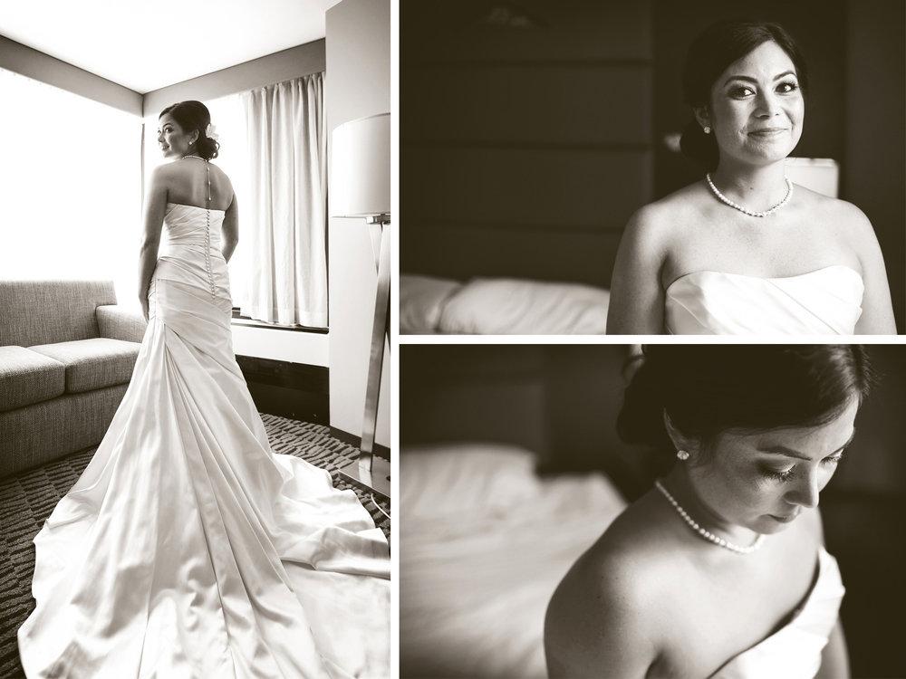 03-Minneapolis-Minnesota-Wedding-Photographer-by-Andrew-Vick-Photography-Fall-Autumn-Millennium-Hotel-Getting-Ready-Bride-Dress-Sepia-Amanda-and-Cary.jpg