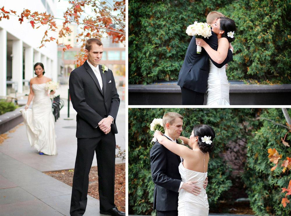 06-Minneapolis-Minnesota-Wedding-Photographer-by-Andrew-Vick-Photography-Fall-Autumn-Millennium-Hotel-First-Look-Meeting-Bride-Groom-Hug-Embrace-Flowers-Amanda-and-Cary.jpg