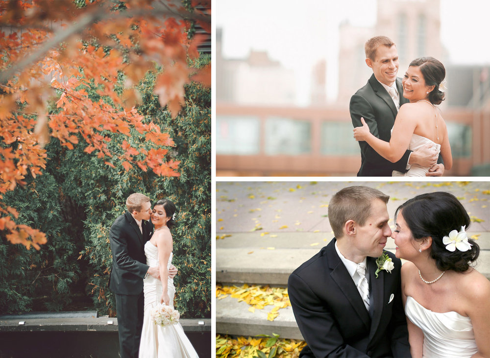 08-Minneapolis-Minnesota-Wedding-Photographer-by-Andrew-Vick-Photography-Fall-Autumn-Millennium-Hotel-First-Look-Meeting-Bride-Groom-Kiss-Embrace-Vintage-Amanda-and-Cary.jpg