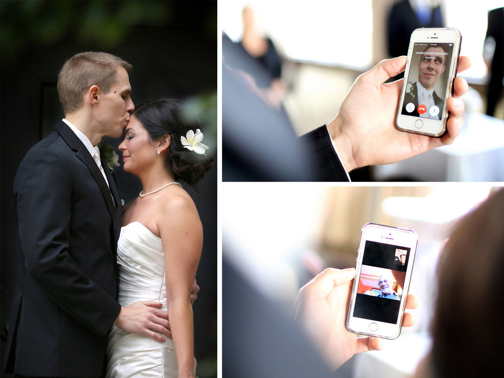 12-Minneapolis-Minnesota-Wedding-Photographer-by-Andrew-Vick-Photography-Fall-Autumn-Millennium-Hotel-Bride-Groom-Kiss-iPhone-Facetime-Parents-Amanda-and-Cary.jpg