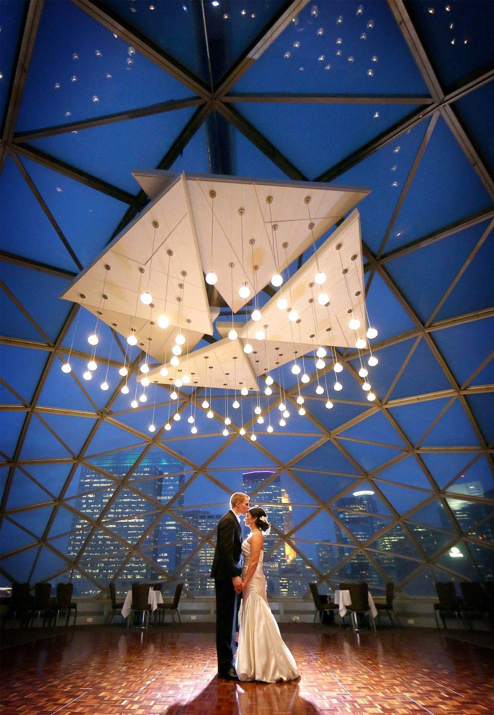 25-Minneapolis-Minnesota-Wedding-Photographer-by-Andrew-Vick-Photography-Fall-Autumn-Millennium-Hotel-Reception-Bride-Groom-Dance-Night-Skyline-Kiss-Vintage-Amanda-and-Cary.jpg