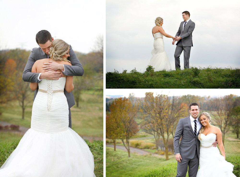 06-Stillwater-Minnesota-Wedding-Photographer-by-Andrew-Vick-Photography-Fall-Autumn-StoneRidge-Golf-Club-First-Meeting-Look-Bride-Groom-Hug-Embrace-Hills-Field-Micaela-and-Derek.jpg