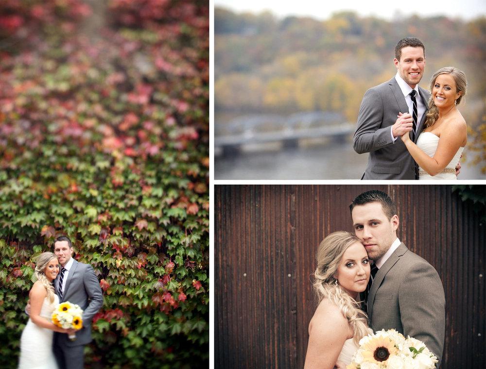 14-Stillwater-Minnesota-Wedding-Photographer-by-Andrew-Vick-Photography-Fall-Autumn-Lift-Bridge-Saint-Croix-River-Bride-Groom-Embrace-Flowers-Sunflowers-Roses-Vintage-Micaela-and-Derek.jpg