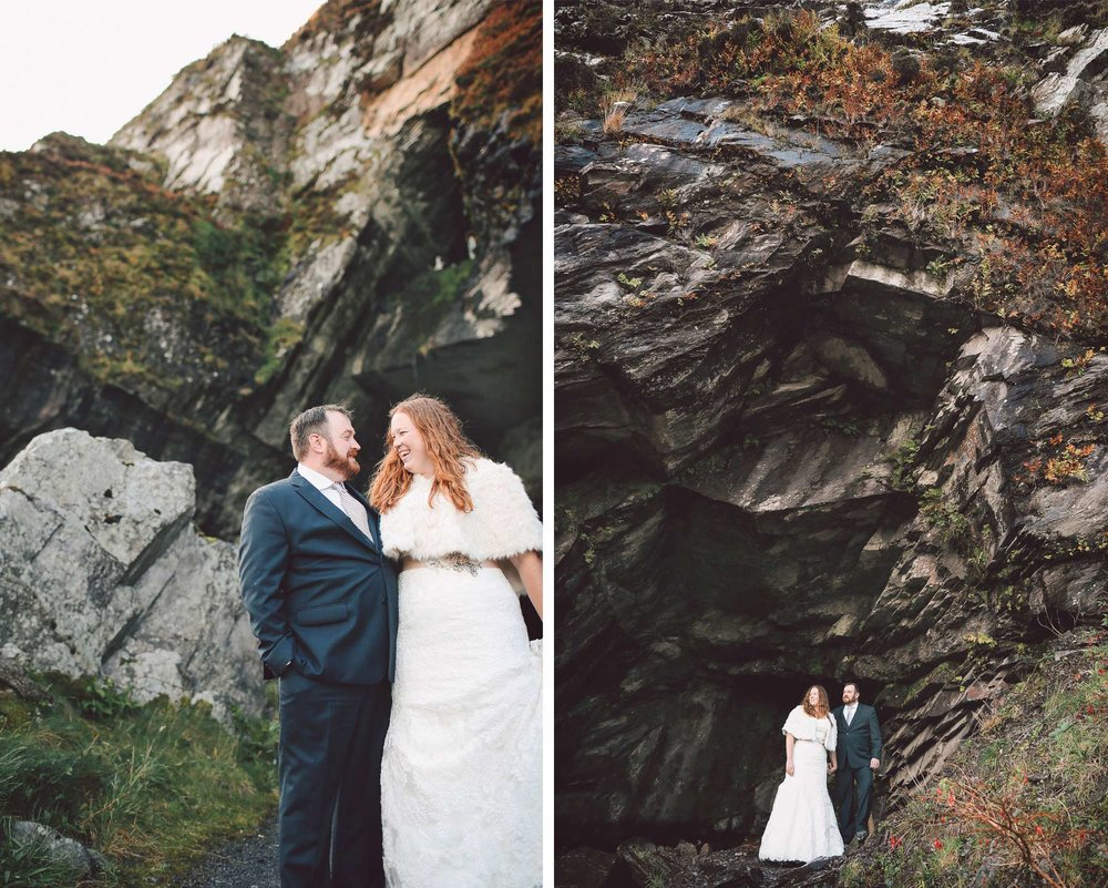 04-Kilarney-Ireland-Wedding-Photographer-by-Andrew-Vick-Photography-Fall-Autumn-Destination-Bride-Groom-Rocks-Cave-Laughter-Becca-and-Donal.jpg