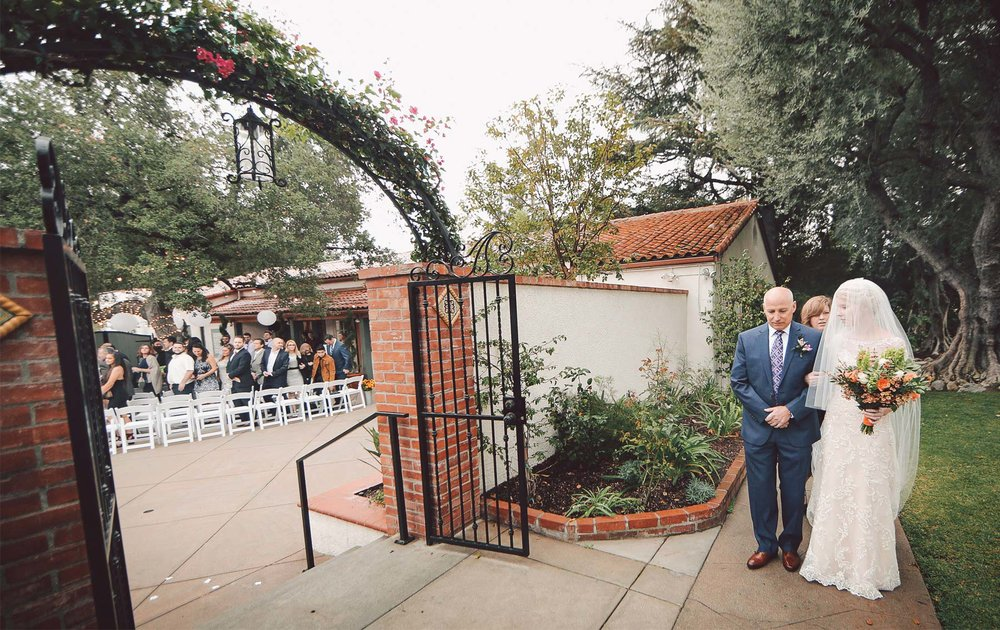05-La-Canada-Flintridge-California-Wedding-Photographer-by-Andrew-Vick-Photography-Fall-Autumn-Destination-Ceremony-Bride-Father-Parents-Processional-Vintage-Fawn-and-Jay.jpg