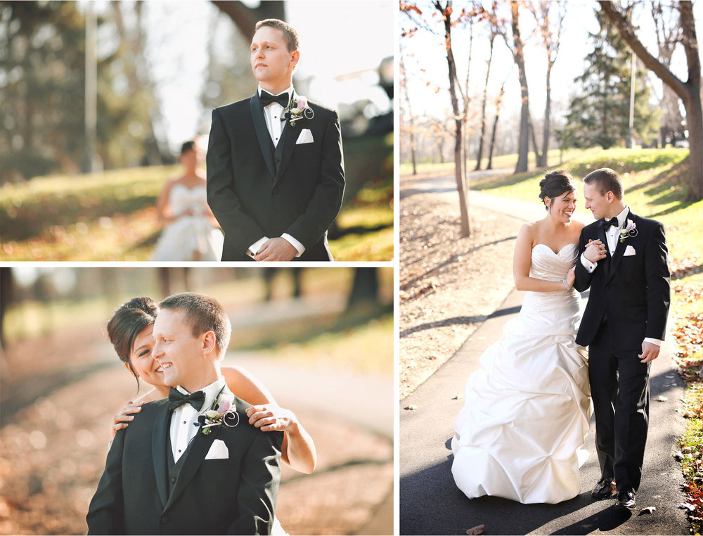 04-Eden-Prairie-Minnesota-Wedding-Photographer-by-Andrew-Vick-Photography-Fall-Autumn-Bearpath-Golf-Country-Club-First-Meeting-Look-Bride-Groom-Embrace-Vintage-Brittany-and-Ryan.jpg