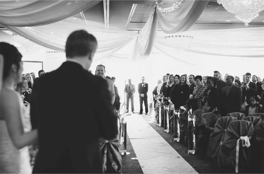 08-Eden-Prairie-Minnesota-Wedding-Photographer-by-Andrew-Vick-Photography-Fall-Autumn-Bearpath-Golf-Country-Club-Ceremony-Bride-Groom-Father-Parents-Processional-Black-and-White-Brittany-and-Ryan.jpg