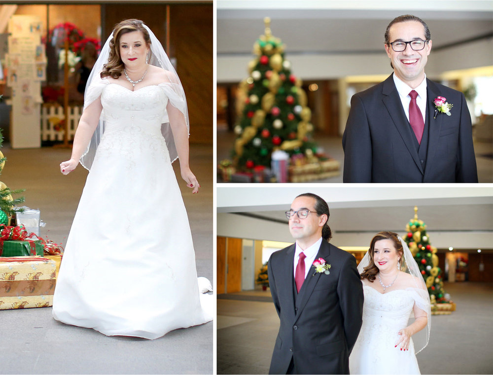 03-Edina-Minnesota-Wedding-Photographer-by-Andrew-Vick-Photography-Winter-Saint-Patricks-Catholic-Church-First-Meeting-Look-Bride-Groom-Dress-Christmas-Tree-Decorations-Elizabeth-and-Brian.jpg