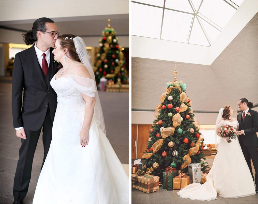 07-Edina-Minnesota-Wedding-Photographer-by-Andrew-Vick-Photography-Winter-Saint-Patricks-Catholic-Church-First-Meeting-Look-Bride-Groom-Kiss-Christmas-Tree-Decorations-Vintage-Elizabeth-and-Brian.jpg
