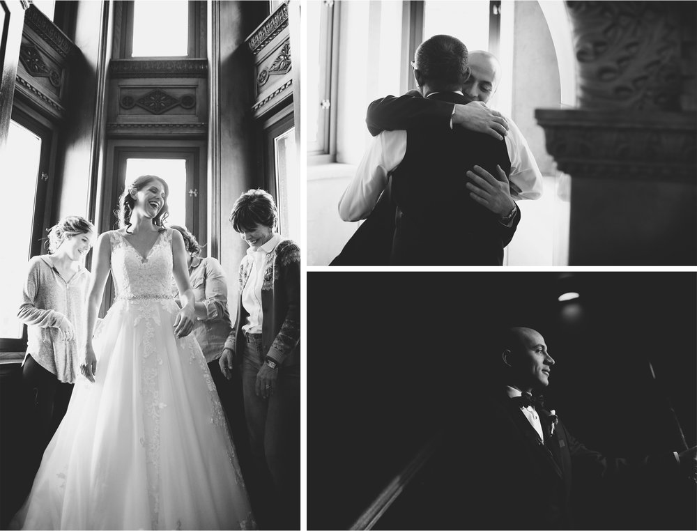 03-Saint-Paul-Minnesota-Wedding-Photographer-by-Andrew-Vick-Photography-Winter-New-Years-Eve-Embassy-Suites-Getting-Ready-Bride-Mother-Parents-Bridesmaids-Groom-Dress-Black-and-White-Emily-and-Michael.jpg