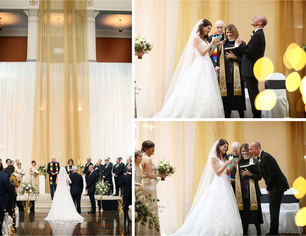 14-Saint-Paul-Minnesota-Wedding-Photographer-by-Andrew-Vick-Photography-Winter-New-Years-Eve-Landmark-Center-Ceremony-Bride-Groom-Father-Parents-Processional-Vows-Laughter-Fist-Pump-Emily-and-Michael.jpg