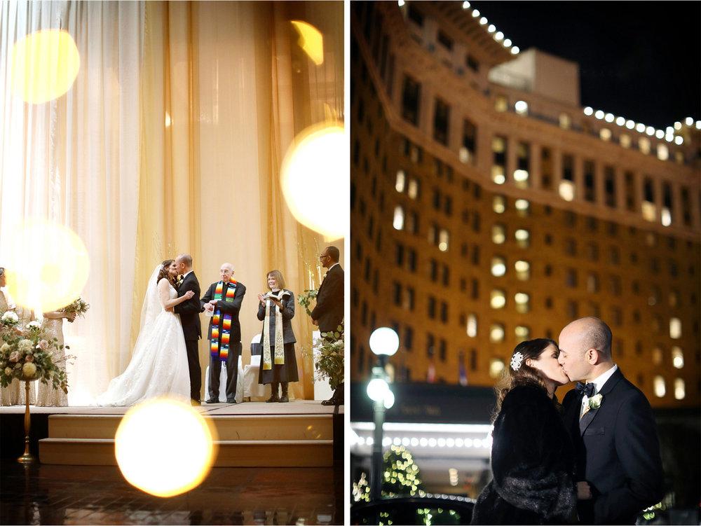 16-Saint-Paul-Minnesota-Wedding-Photographer-by-Andrew-Vick-Photography-Winter-New-Years-Eve-Landmark-Center-Ceremony-Bride-Groom-Kiss-Fur-Coat-Night-Emily-and-Michael.jpg