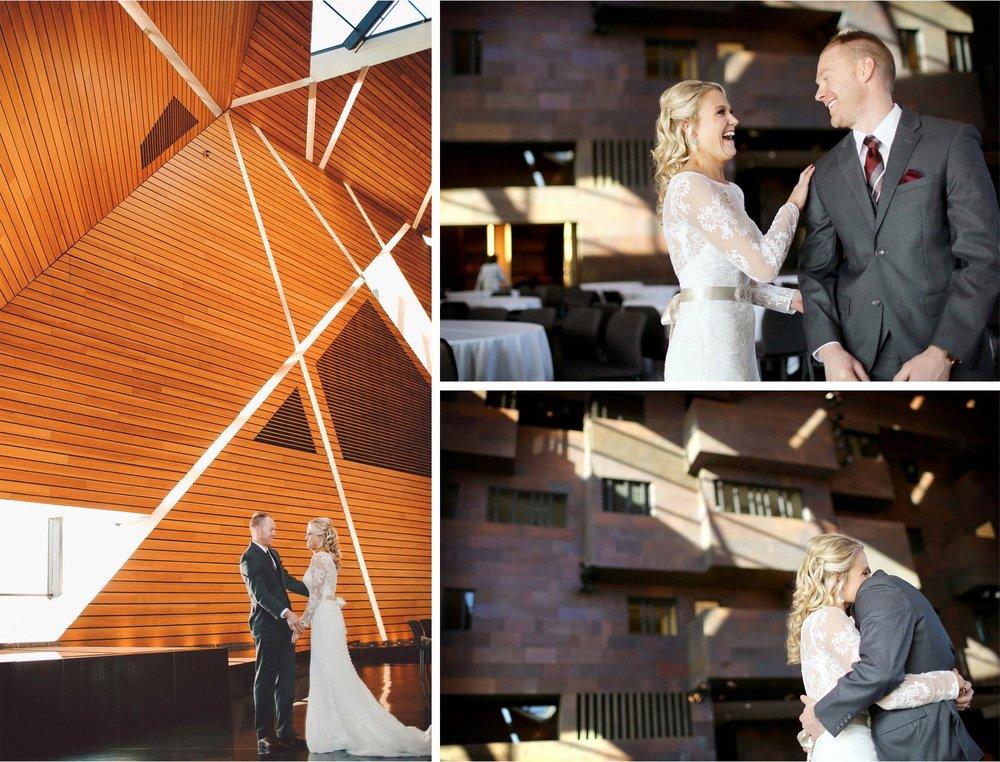 06-Minneapolis-Minnesota-Wedding-Photographer-by-Andrew-Vick-Photography-Winter-McNamara-Alumni-Center-First-Meeting-Look-Bride-Groom-Hug-Embrace-Vintage-Brittany-and-Joseph.jpg