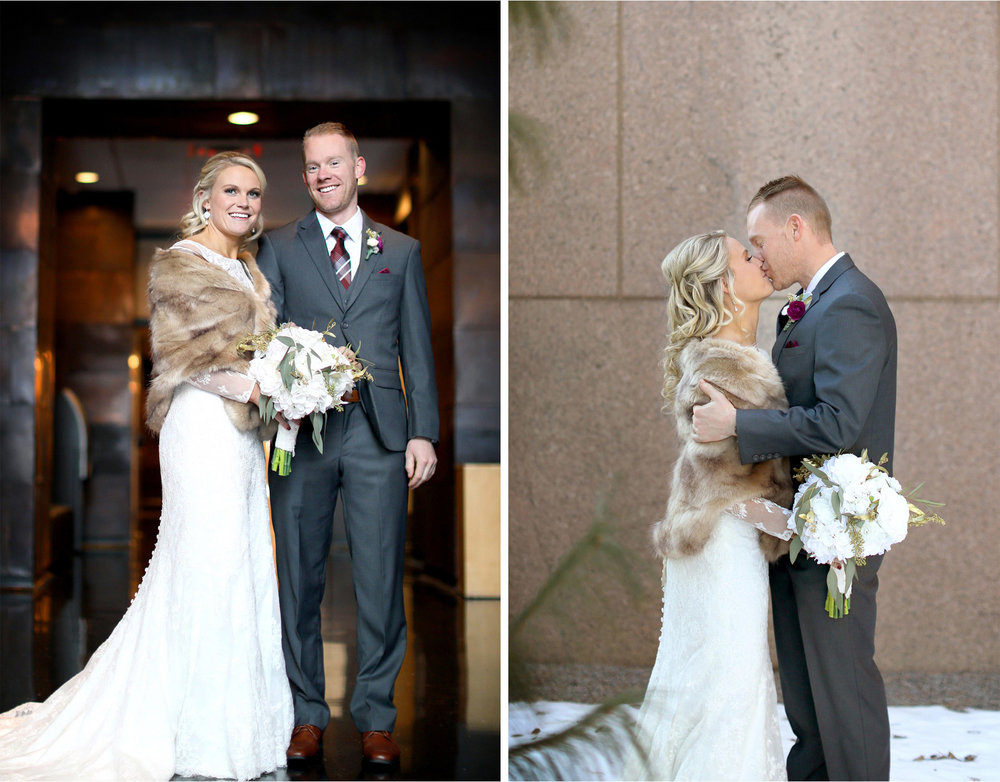 07-Minneapolis-Minnesota-Wedding-Photographer-by-Andrew-Vick-Photography-Winter-McNamara-Alumni-Center-First-Meeting-Look-Bride-Groom-Kiss-Embrace-Fur-Shrug-Brittany-and-Joseph.jpg