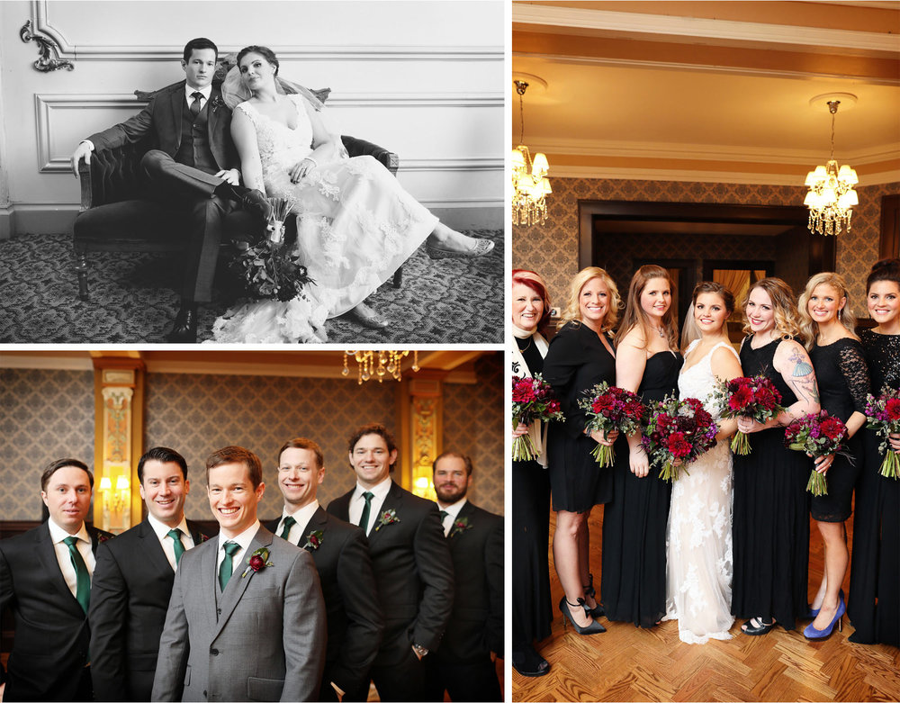 11-Chicago-Illinois-Wedding-Photographer-by-Andrew-Vick-Photography-Winter-Stan-Mansion-First-Meeting-Look-Bride-Groom-Bridesmaids-Groomsmen-Flowers-Black-and-White-Colleen-and-Mike.jpg