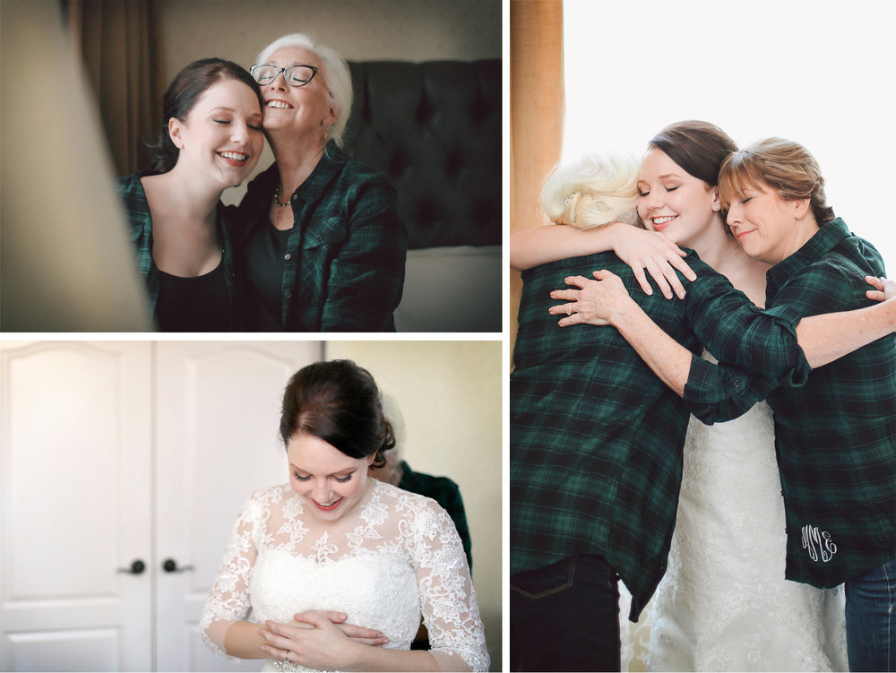 01-Minneapolis-Minnesota-Wedding-Photographer-by-Andrew-Vick-Photography-Winter-Renaissance-Hotel-Getting-Ready-Bride-Mother-Parents-Dress-Hug-Embrace-Sara-and-Rob.jpg