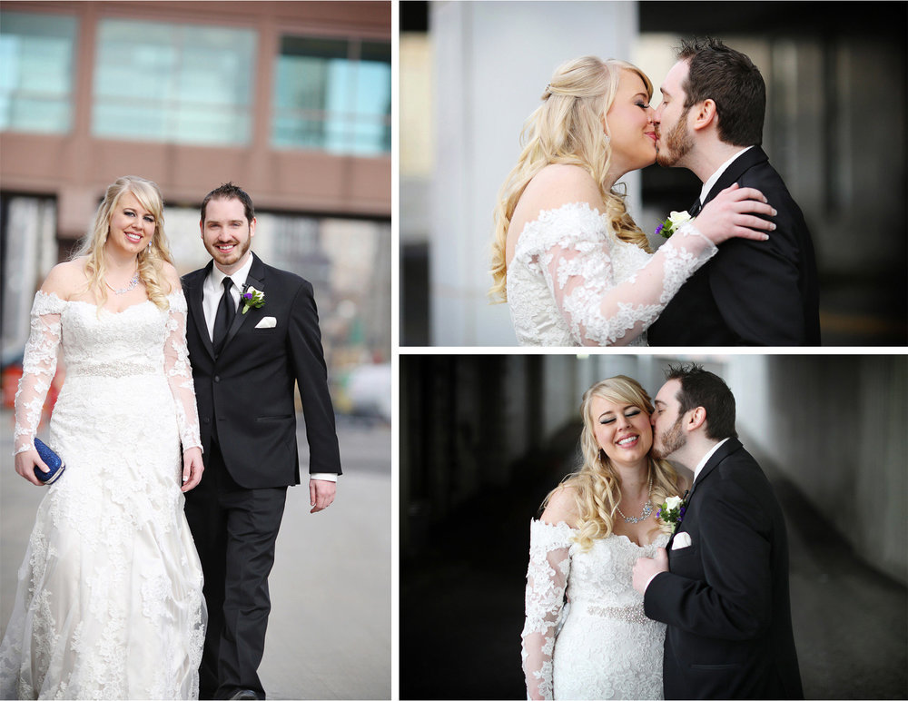 04-Minneapolis-Minnesota-Wedding-Photographer-by-Andrew-Vick-Photography-Winter-Millennium-Hotel-First-Meeting-Look-Bride-Groom-Kiss-Embrace-Jennifer-and-Phillip.jpg
