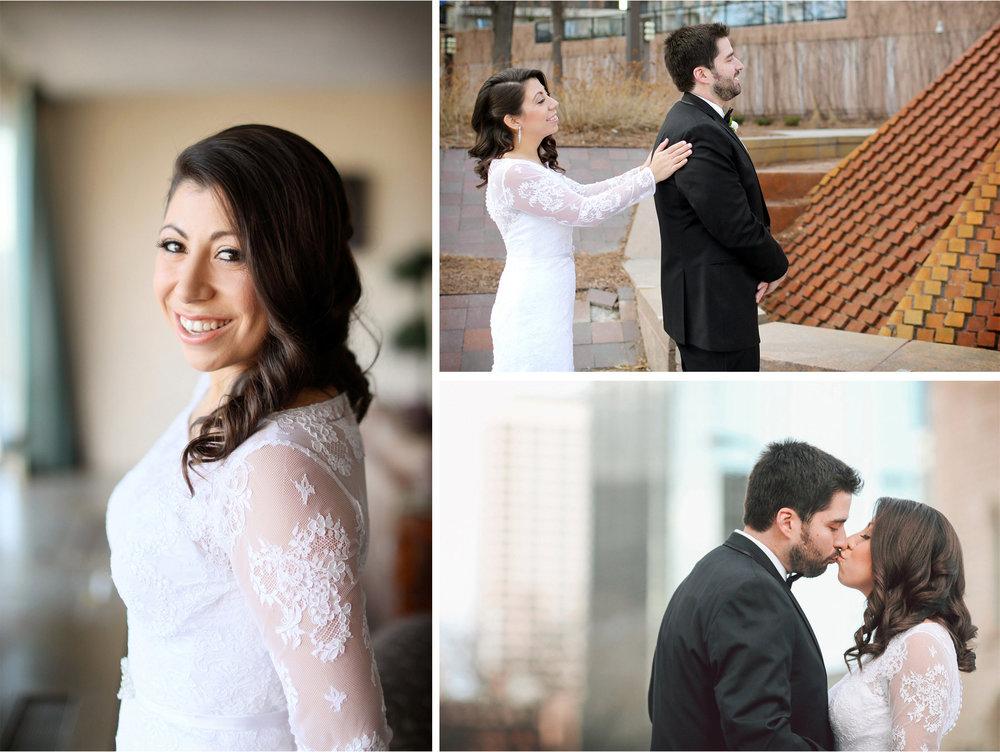 04-Minneapolis-Minnesota-Wedding-Photographer-by-Andrew-Vick-Photography-Winter-Millennium-Hotel-First-Meeting-Look-Bride-Groom-Dress-Lace-Kiss-Vintage-Amy-and-Jordan.jpg