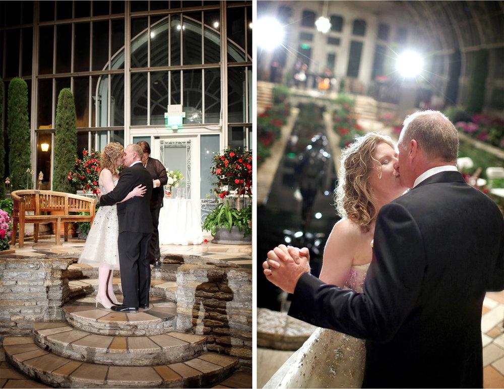 16-Saint-Paul-Minnesota-Wedding-Photographer-by-Andrew-Vick-Photography-Winter-Como-Park-Conservatory-Sunken-Garden-Ceremony-Bride-Groom-Kiss-Flowers-Night-Dannette-and-Darren.jpg
