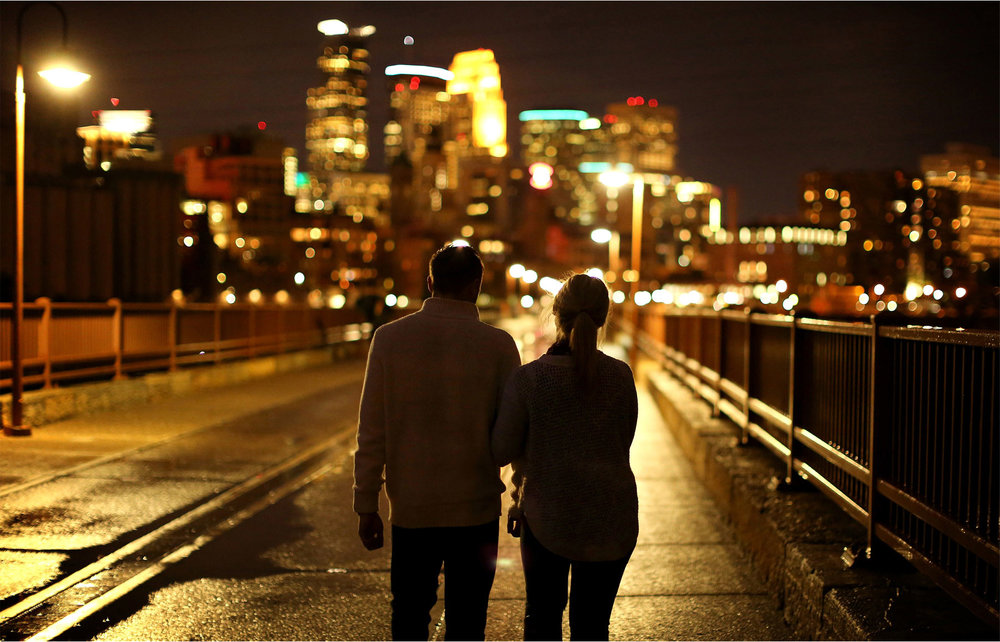 10-Minneapolis-Minnesota-Wedding-Photographer-by-Andrew-Vick-Photography-Fall-Autumn-Engagement-Bride-Groom-Downtown-Skyline-Stone-Arch-Bridge-Night-Silhouette-Mallory-and-Kyle.jpg