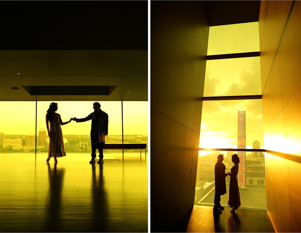 16-Minneapolis-Minnesota-Wedding-Photographer-by-Andrew-Vick-Photography-Summber-Engagement-Bride-Groom-Guthrie-Theater-Yellow-Room-Level-Nine-Embrace-Tradional-Indian-Clothing-Downtown-Silhouette-Natasha-and-Sohail.jpg