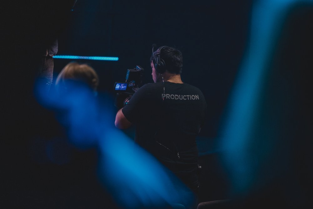 Production - Help create an atmosphere where people can experience the presence of God. Operate cameras, lights, screens, and sound to support the Gospel being presented on stage.No experience required.