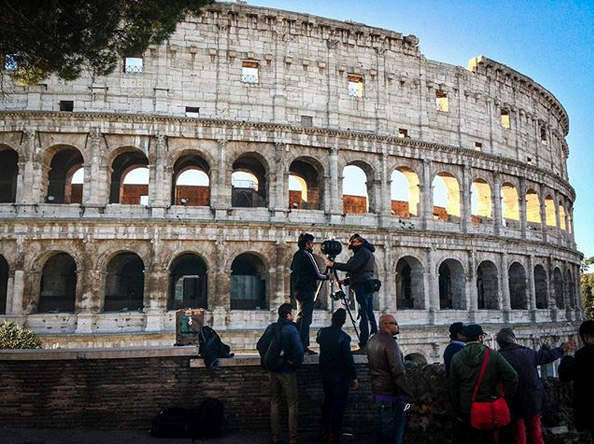 Sébastien setting up a shot using the Jaunt 1 camera for Le Musk, shot in Rome.