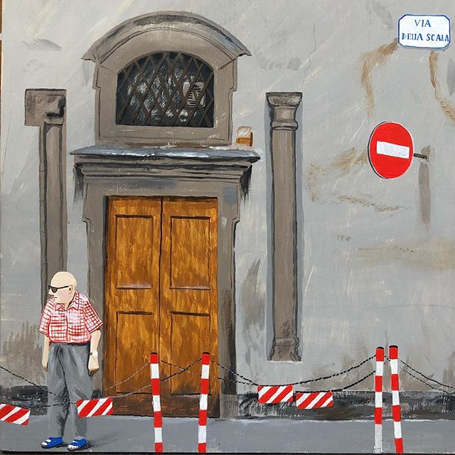 Detail from 'Via Della Scala', based on a photo I took years ago in Florence. I do love an unintentionally colour coordinated scene! #redismyfavouritecolour #acrylicpainting #firenzetoday #florenceitaly #streetscene