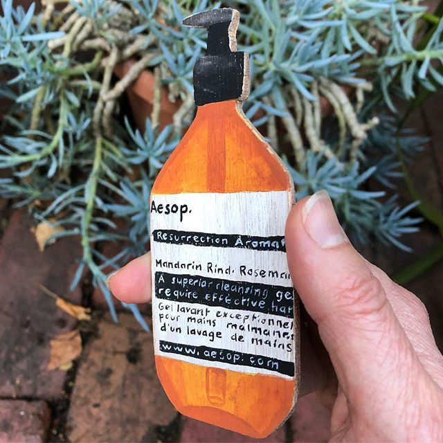 I had an Aesop Resurrection. And then I sold it on Etsy. #trompeloeil #acryliconwood #aspirationalobject #melbournestuff #myhandlookslikeitneedssomebalm