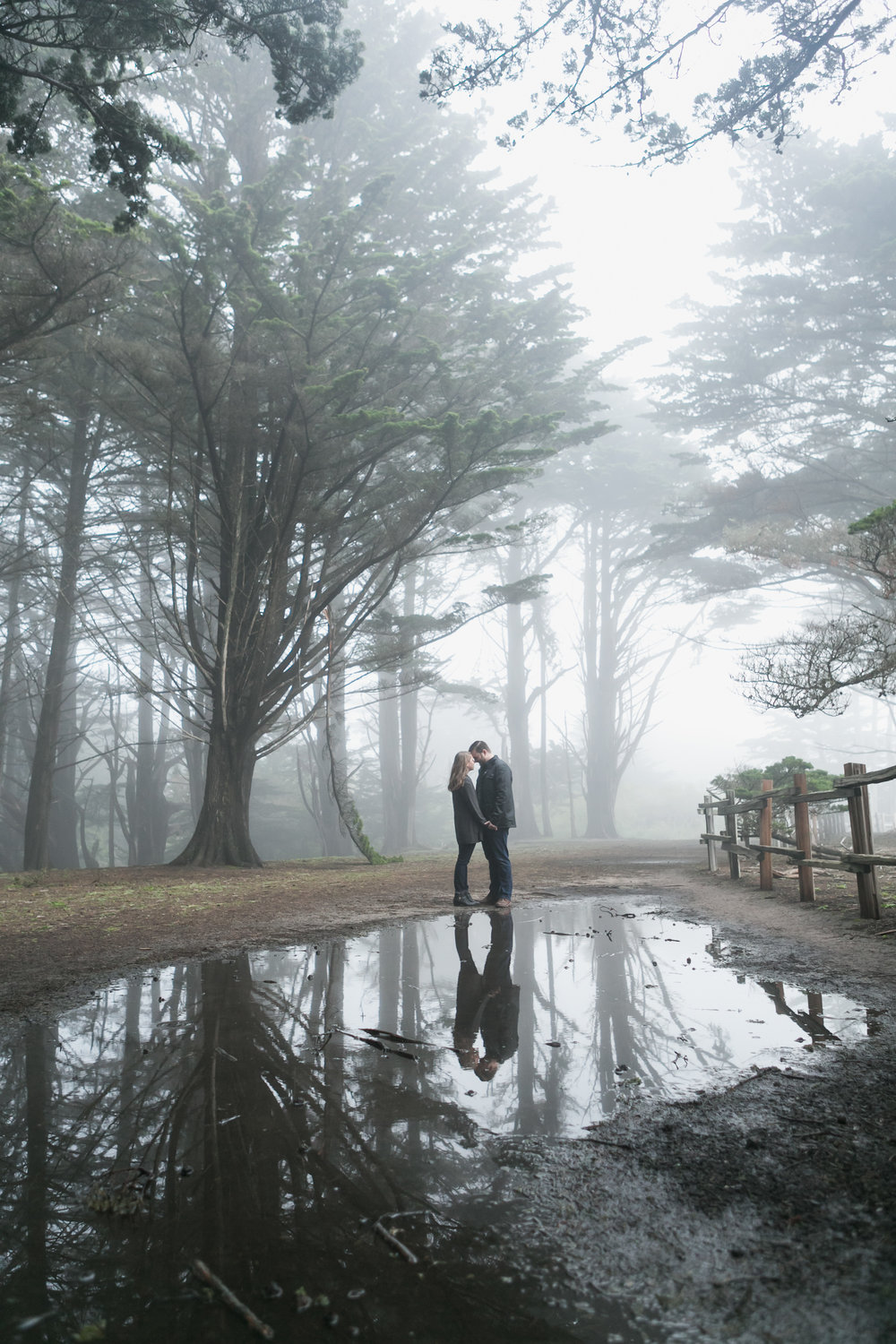 Fitzgerald Marine Reserve Engagement Session Fog Reflection Moss Beach Coast