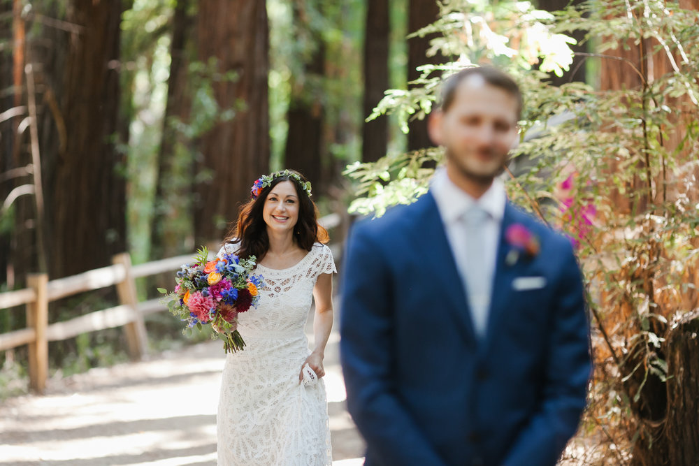 Colorful Camp Campbell Wedding Santa Cruz First Look