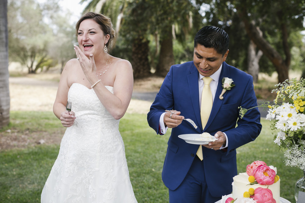 Wedding couple cutting their cake gets messy and they laugh