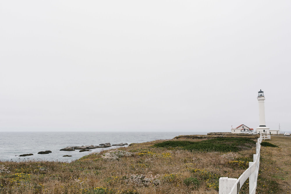 Historical lighthouse on the coast of Northern California in Point Arena