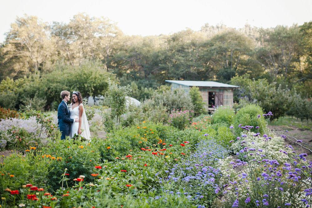 Wedding couple in flower field at coastal farm in Northern California