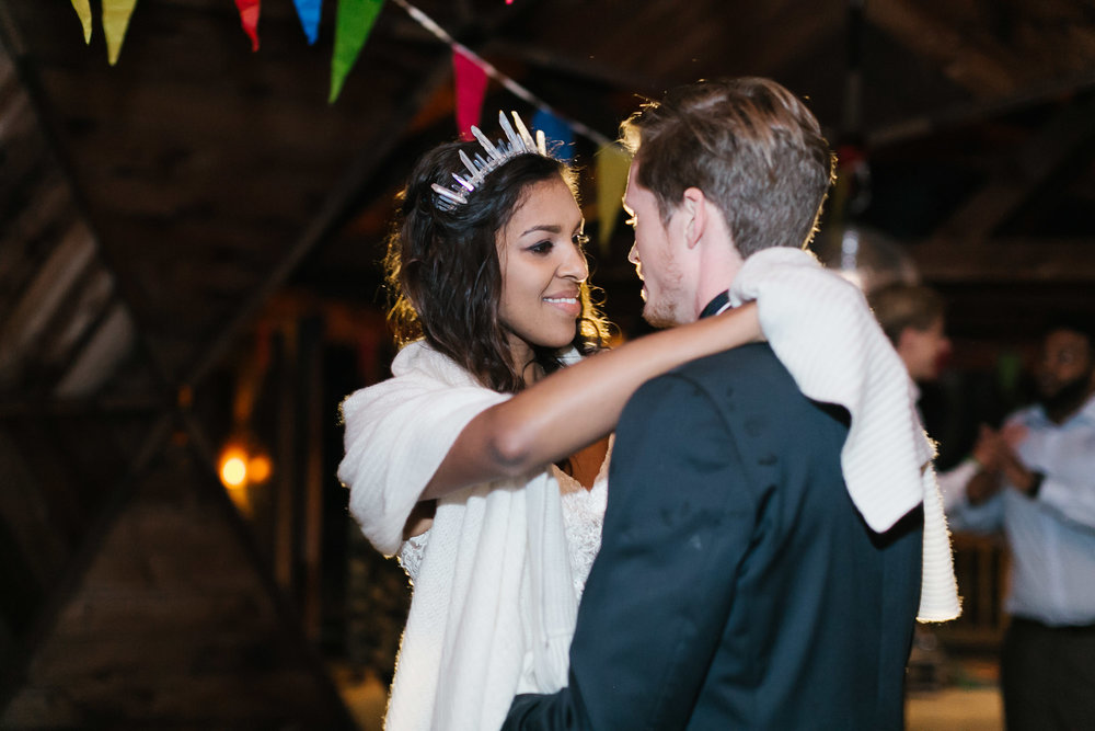 Bride and groom share their first dance on their wedding day