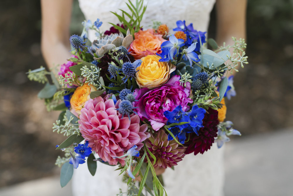 Colorful summer wedding bouquet with diverse flowers in Santa Cruz